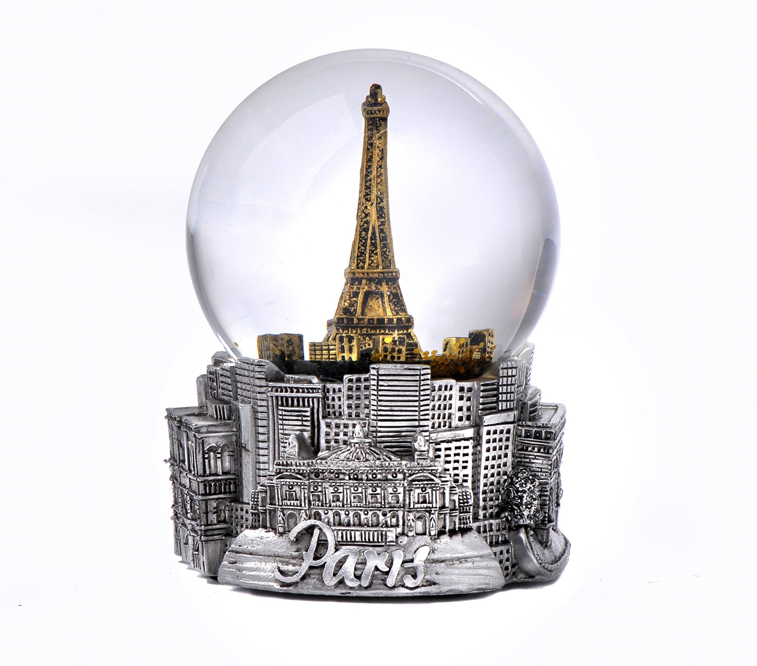 Paris France Eiffel Tower Snow Globe in Silver and Gold Exclusive 65mm