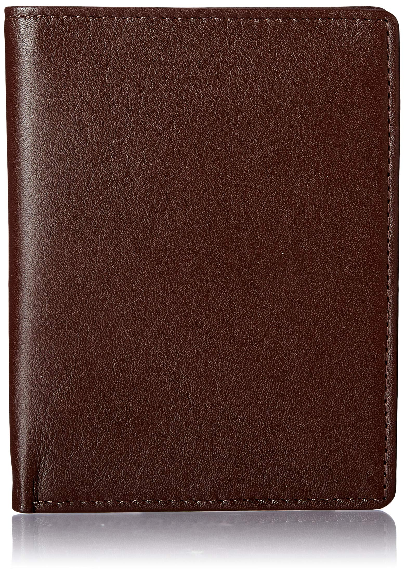 Royce Leather RFID Blocking Bifold Passport Currency Travel Wallet, Brown