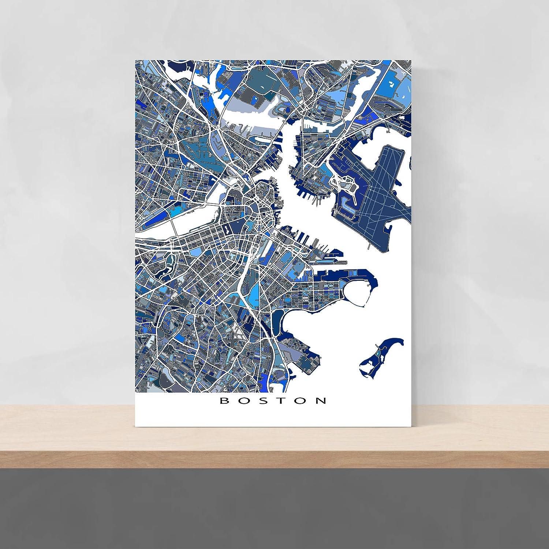 Boston On Usa Map.Amazon Com Boston Map Print Massachusetts Usa City Street Art