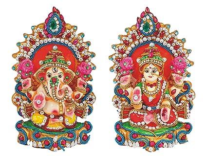 Ramyas Artistic Clay Idols Of Hindu Goddess Lakshmi Lord Ganesha