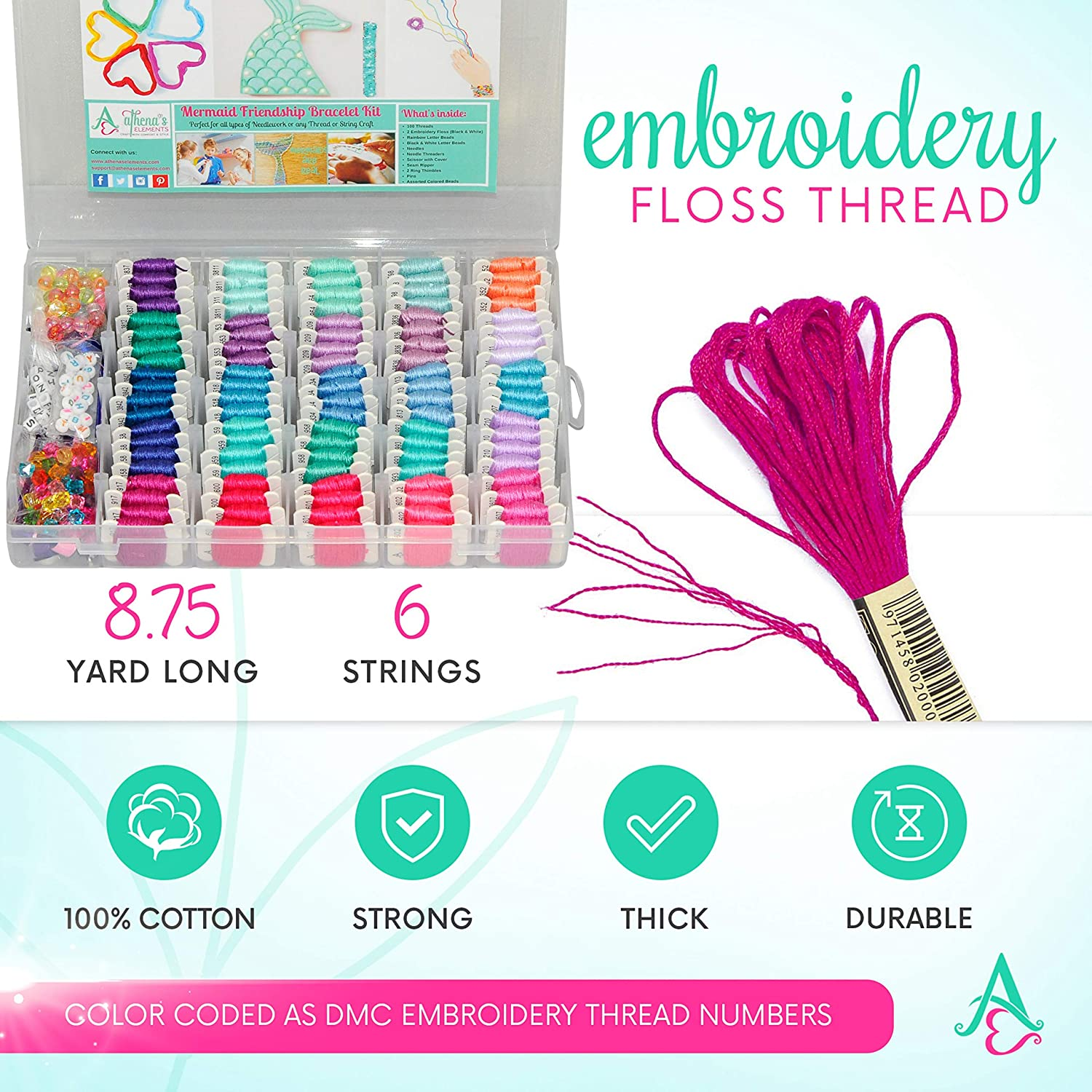 Colors are Coded Embroidery Floss Numbers- Cross Stitch Perfect Gift for Girls 7 to 12 String Thread Craft Supplies Mermaid DIY Friendship Bracelet String Kit Embroidery Thread and Accessories