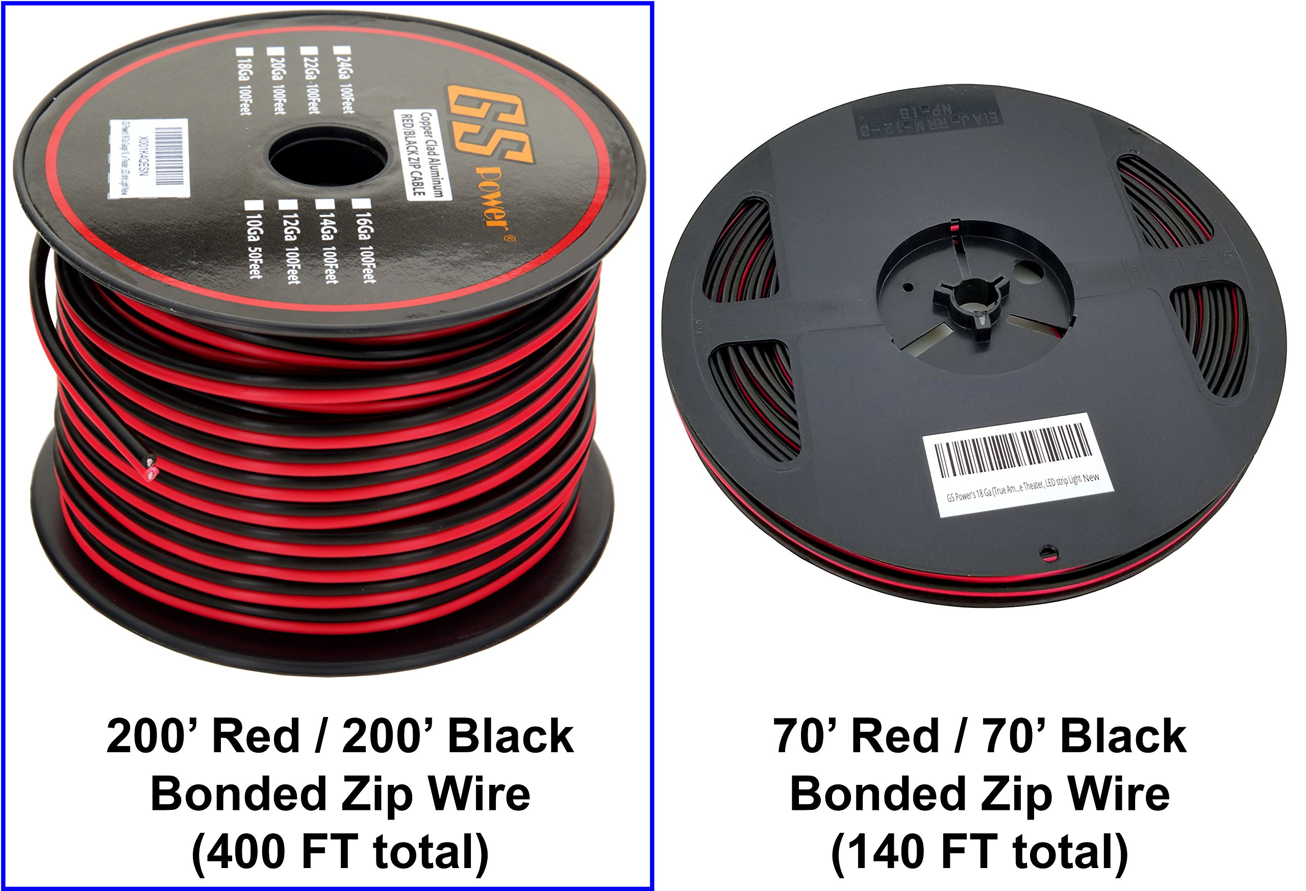 GS Power 18 Ga Gauge 200 Feet CCA Copper Clad Aluminum Red/Black Bonded Zip Cord Speaker Cable for Model Train Car Audio Radio Amplifier Remote Trailer Harness Home Theater LED Light Wiring by GS Power