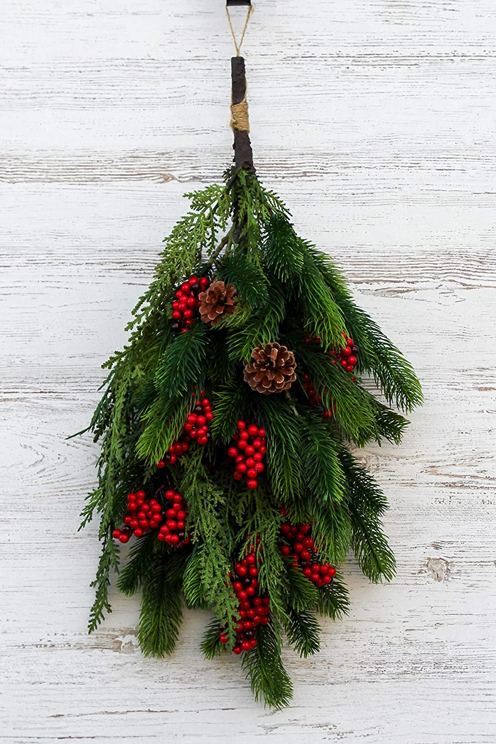 Red Berry /& Pinecone Teardrop Christmas Holiday Swag Darby Creek Trading Real Touch Cedar