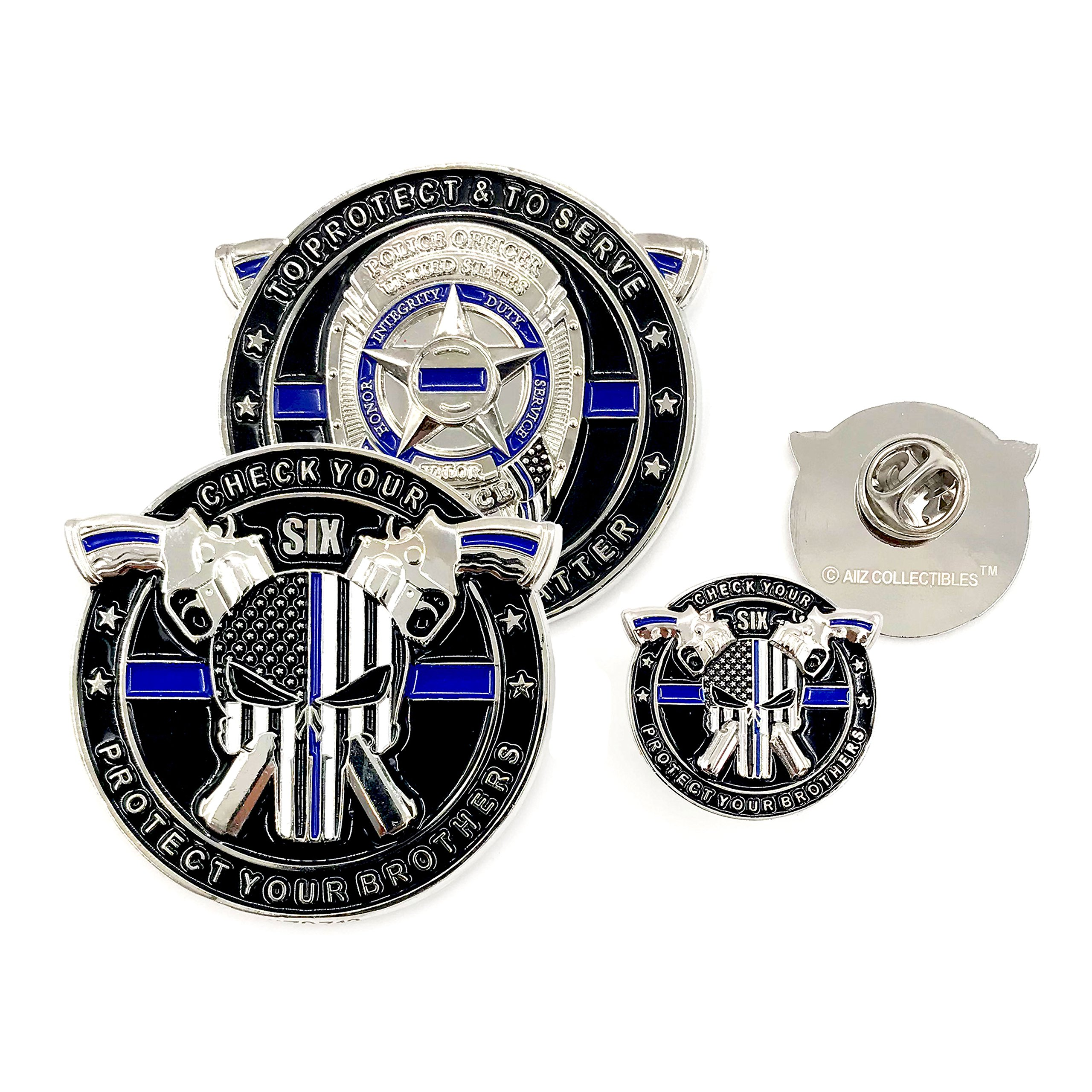 AIIZ Collectibles Police Coin & Pin - Punisher Thin Blue Line, Blue Lives Matter Law Enforcement Officers Military Police NYPD Challenge Coin with Unique Serial Numbers