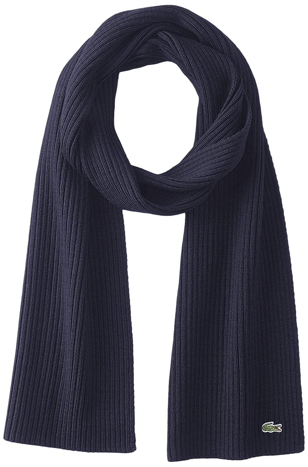 Lacoste Men's Classic Wool Ribbed Scarf Navy Blue One Size Lacoste Mens accessories RE4212-51