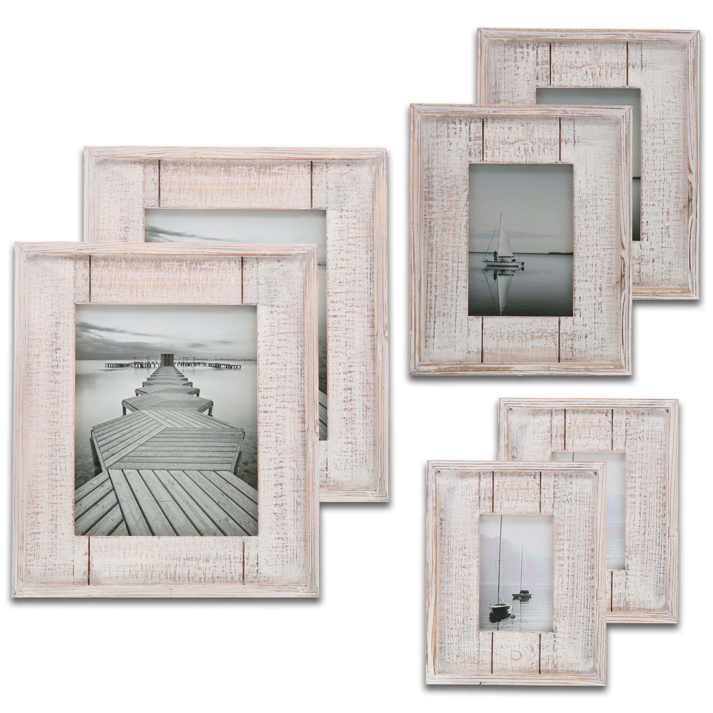 Barnyard Designs Rustic White Distressed Picture Frame - 6 Frames - 2X (4'' x 6'', 5'' x 7'', 8'' x 10'') Bundle by Barnyard Designs