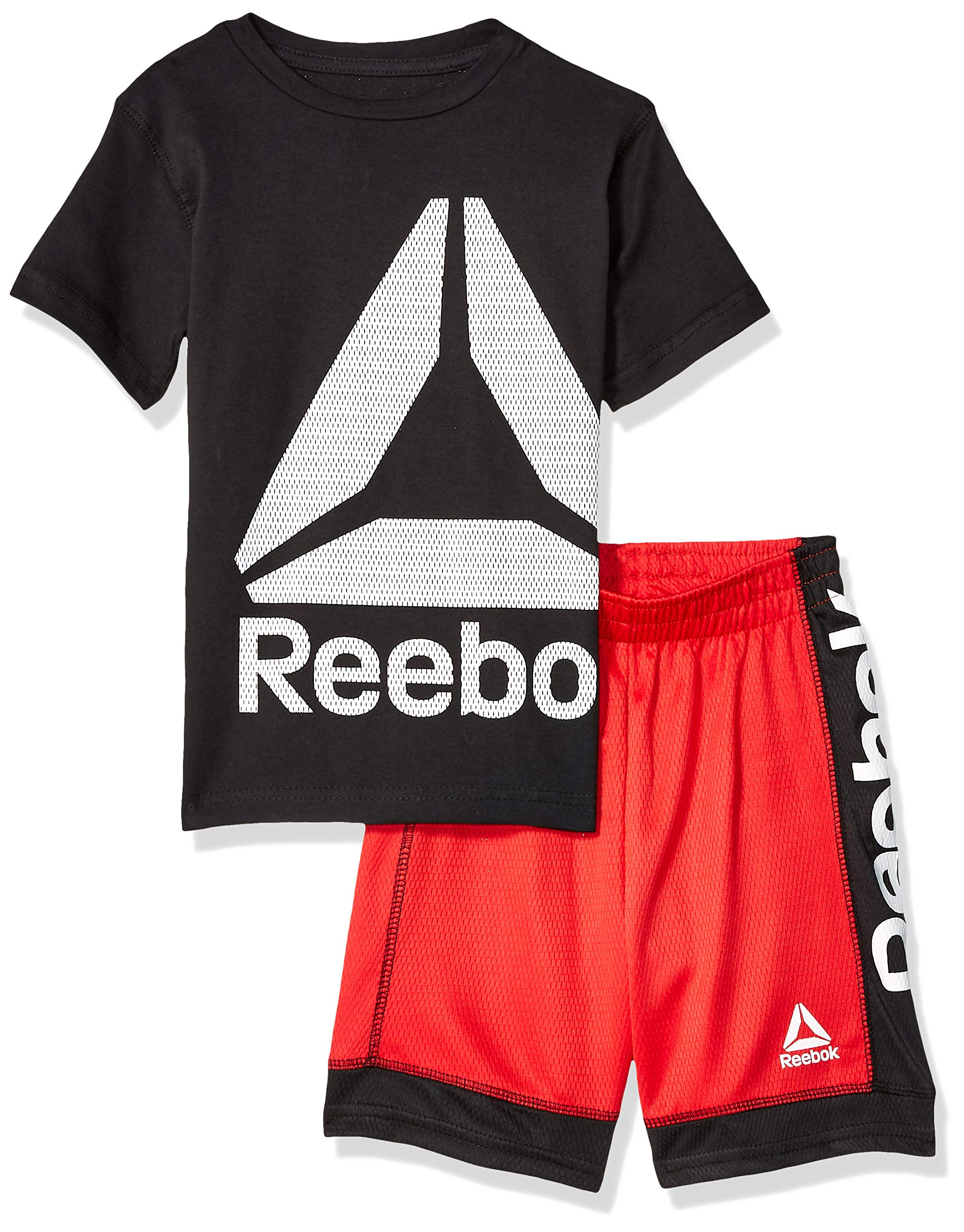 Reebok Boys' Big 2 Piece Power Delta T-Shirt and Short Set, True Red, 8