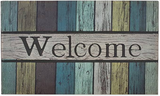 J M Home Fashions 10618a Painted Fence Welcome Printed Flocked Doormat 18 Inch By 30 Inch Amazon Ca Home Kitchen
