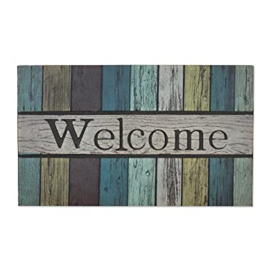 Non-Slip Outdoor/Indoor Printed Flocked Welcome Doormat, 18x30 , Heavy Duty Entry Way Shoes Scraper Patio Rug Dirt Debris Mud Trapper Waterproof-Painted Fence