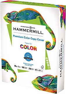 product image for Hammermill Cardstock, Premium Color Copy, 80 lb, 8.5 x 11 - 1 Pack (250 Sheets) - 100 Bright, Made in the USA Card Stock