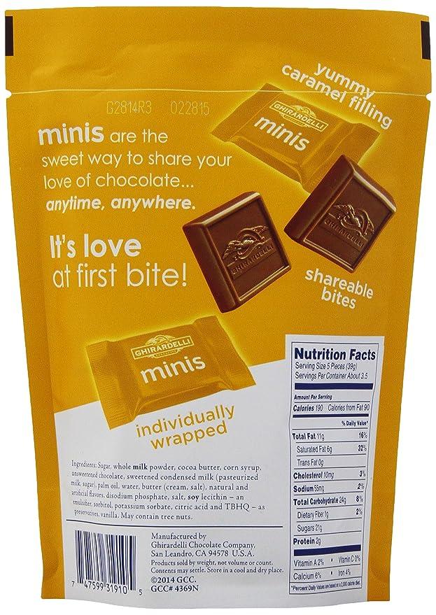 Ghirardelli Minis Pouch, Milk Chocolate Caramel Filling, 4.6 oz.: Amazon.es: Alimentación y bebidas