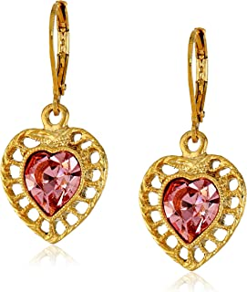 product image for 1928 Jewelry Gold-Tone Pink Genuine Swarovski Crystal Gold Frame Heart Drop Earrings