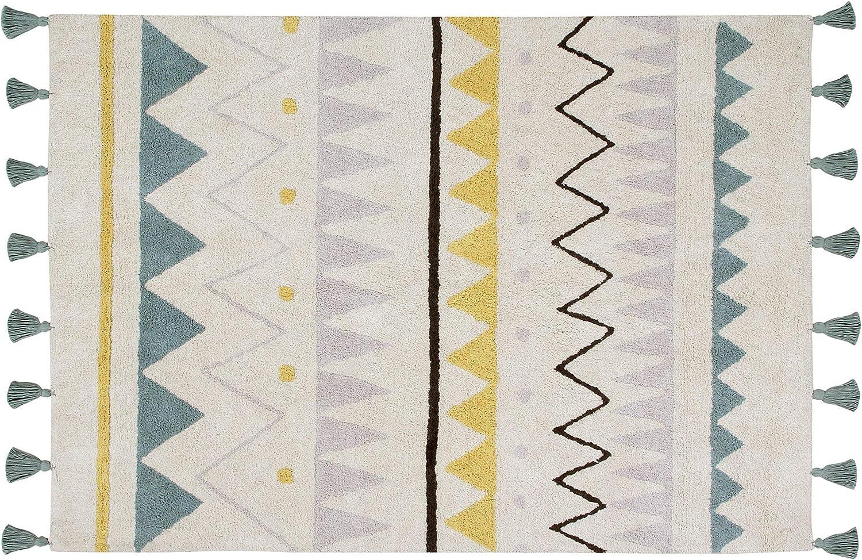 Lorena Canals – Alfombra Natural Azteca Grande, Lavable, de algodón, Color Azul Vintage (140x200x30cm)