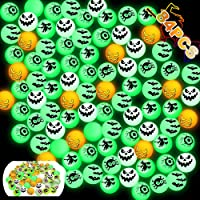FiGoal 84 PCs Halloween Glow in The Dark Bouncy Balls for Halloween Theme Party Supplies Halloween Theme Designs Light…