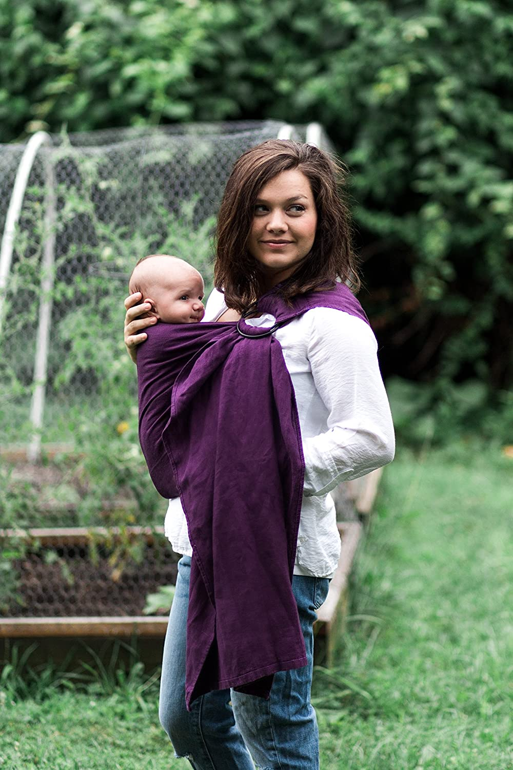 Bibetts Pure Linen Plum Ring Sling Baby Carrier – US safety compliant – Infant, Toddler and Baby Carrier