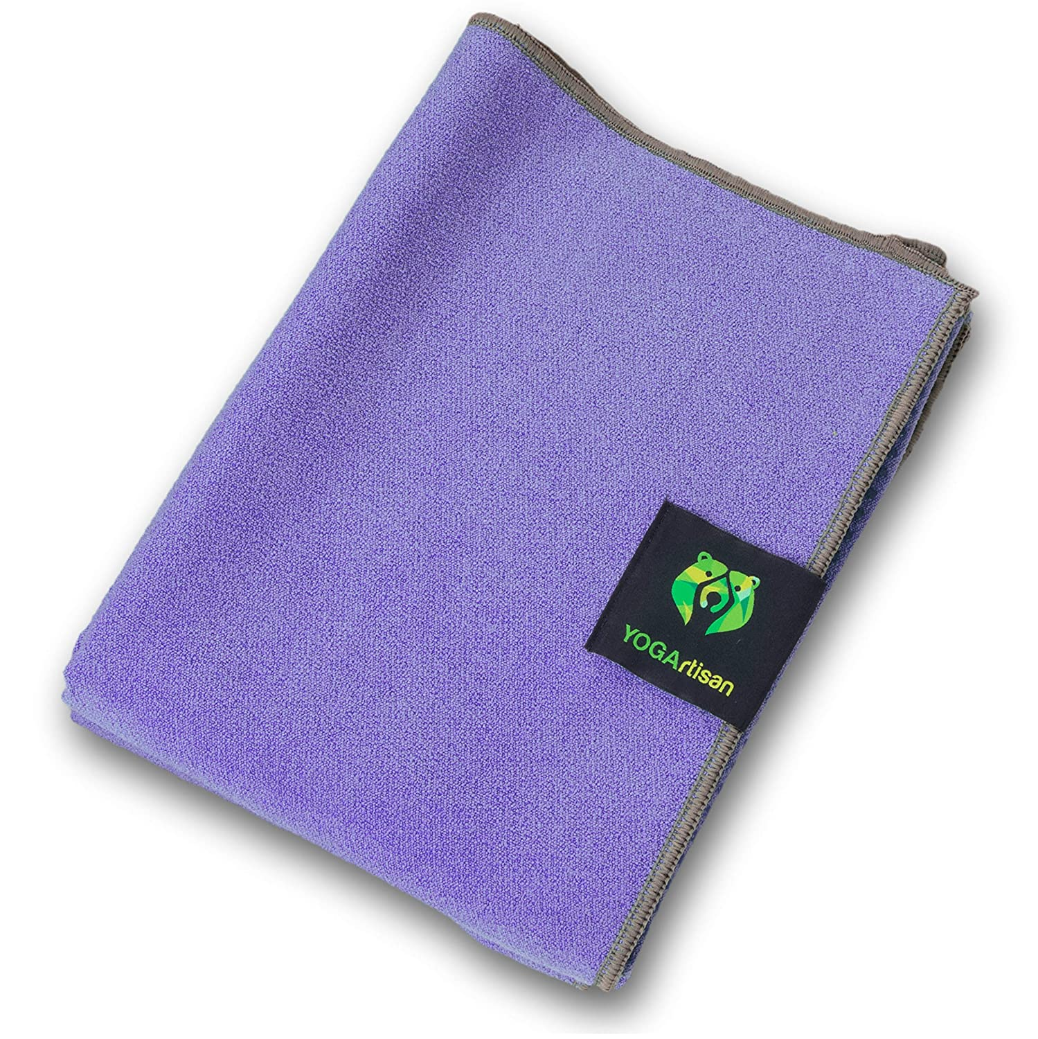 YOGArtisan Hot Yoga Towel, Thick Microfiber, Grippy Non Slip Mat Covers for Bikram, Stretching, Meditation