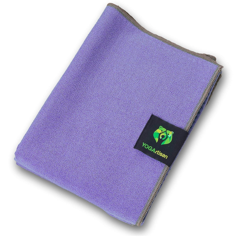 YOGArtisan Hot Yoga Towel, Thick Microfiber, Grippy Non Slip Mat Covers for Bikram, Stretching, Meditation