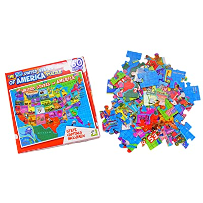 United States of America (USA) Map - 60 Piece Jigsaw Puzzle: Toys & Games