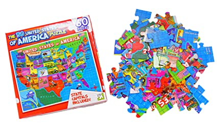 Amazon Com United States Of America Usa Map 60 Piece Jigsaw