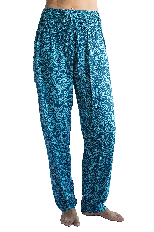 PIYOGA Women's Yoga Athleisure Casual Lounge Pants, Regular/Tall Straight Leg (US 0-10) Regular/Tall Straight Leg (US 0-10) - Aquamarine Pineapple Party
