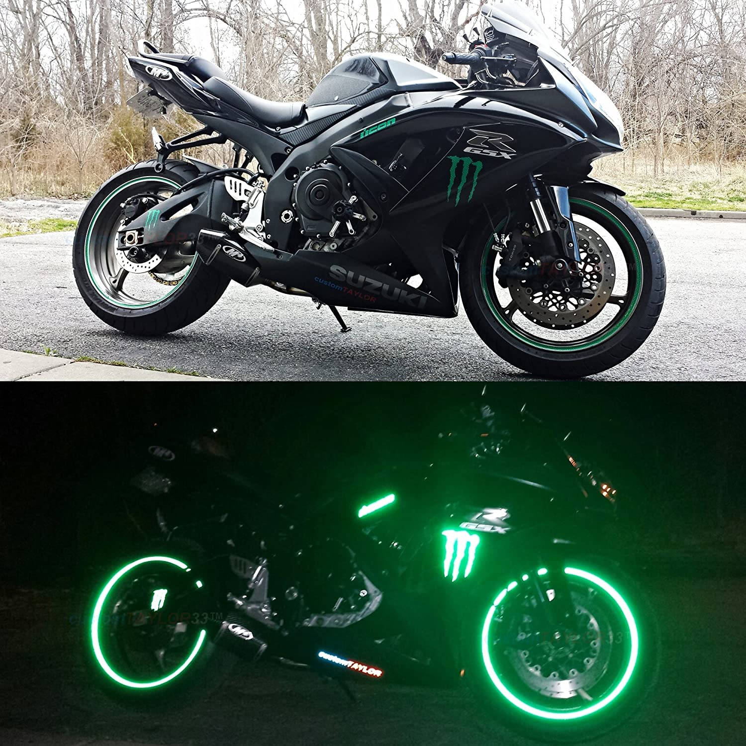 Must Select Your Rim Size 10 Rim Size All Vehicles Green High Intensity Grade Reflective Copyrighted Safety Rim Tapes customTAYLOR33