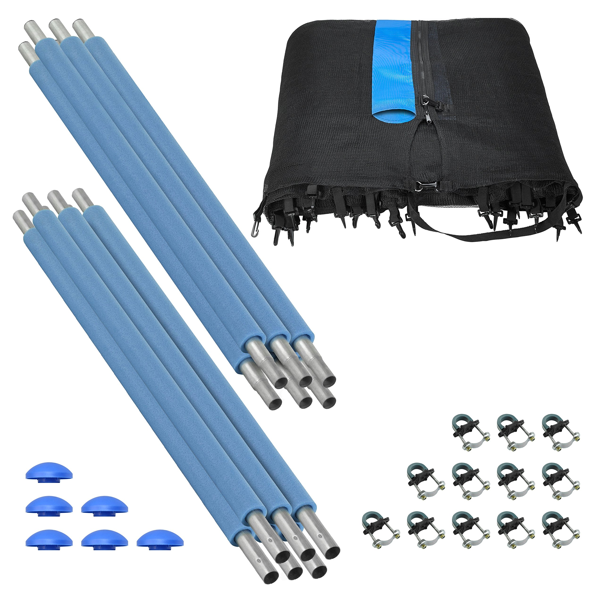 Trampoline Enclosure Set, to fit 15 FT. Round Frames, for 3 or 6 W-Shaped Legs -Set Includes: Net, Poles & Hardware Only