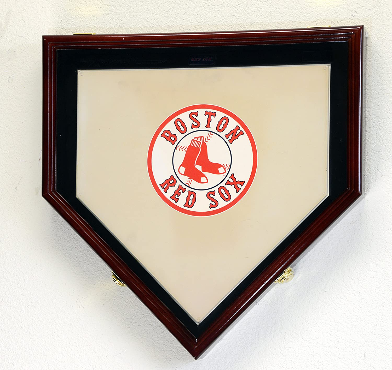 Full Size Baseball Home Plate Base Display Case Cabinet Shadowbox Holder 98% UV (Cherry Finish)