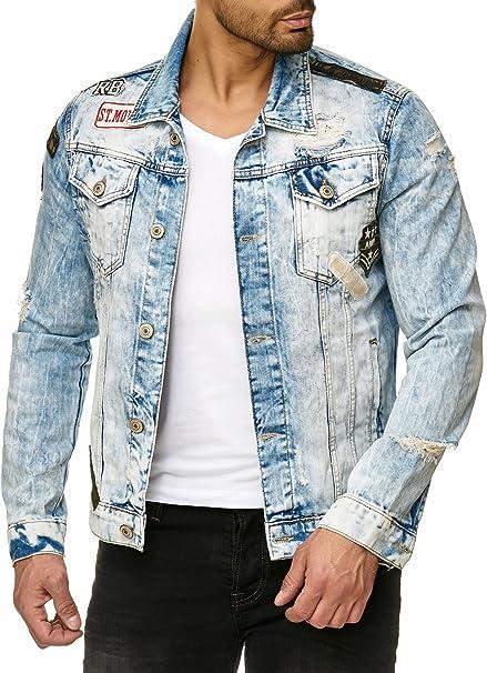 Red Bridge Herren Jeansjacke Denim Jacke Jeans Destroyed Vintage Used Look mit Patches Baumwolle