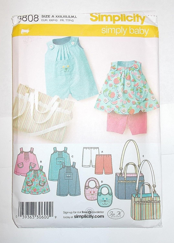Amazon.com: Simplicity Pattern 3808 Babies Top, Romper, Bib, Diaper ...