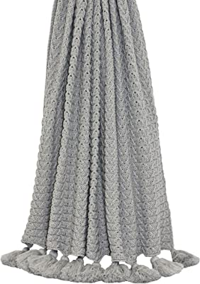 Riva Home Mina Knitted Tassled Throw (55.1 x 70.9in, Gray)