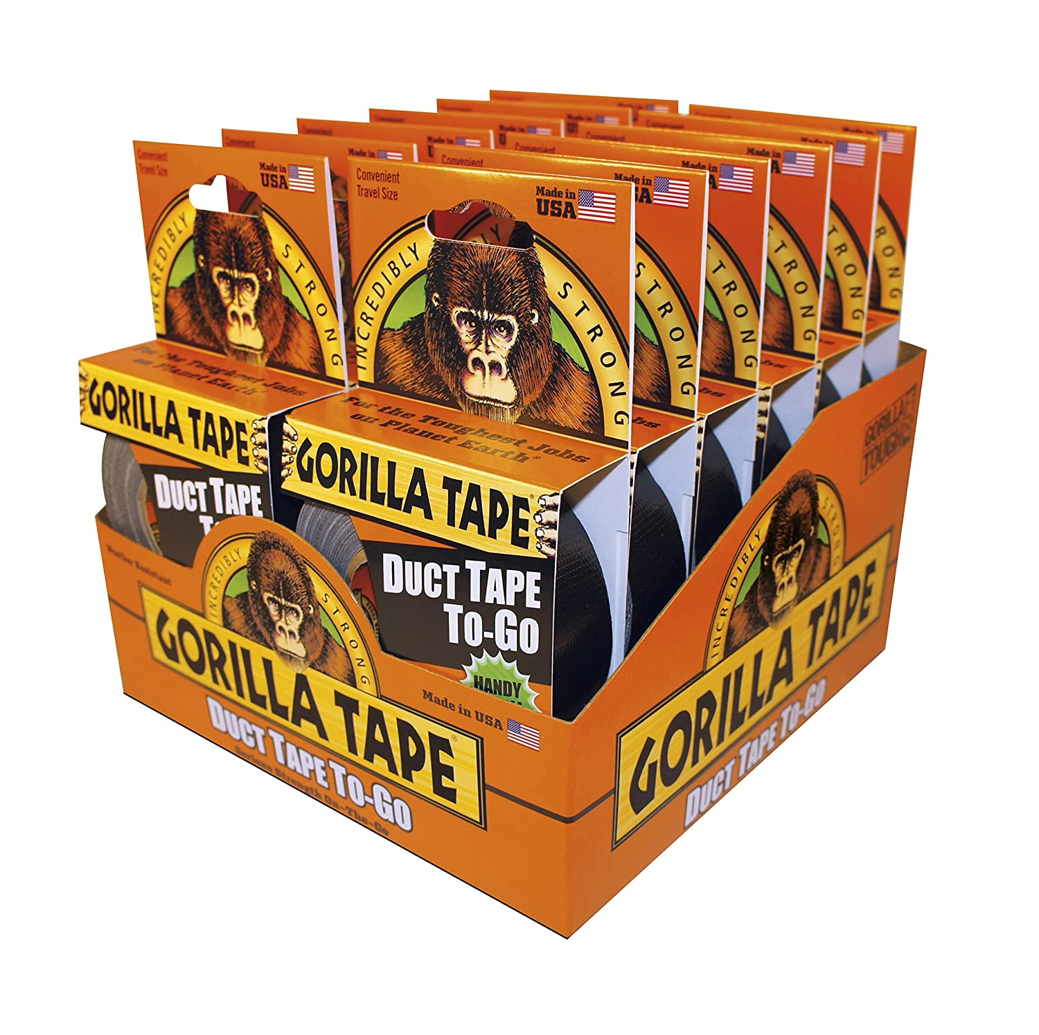 (Pack of 12) Gorilla Glue Duct Tape To Go Handy Roll 1' 25mm x 9.14m Black GT-TG-9-12