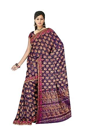 bd549ce0eb Banarasi Sarees Cotton Silk Saree (JMD10DRJ829_Pink Gold Magenta): Amazon.in:  Clothing & Accessories