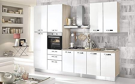 Cocina completa - Lado izquierdo cm. 300 x 60 x 240 h - Incluye: campana extractora, horno ventilado, lavabo, frigorífico, frigorífico, placa de cocción a gas con 4 fuegos, 9 y 3 cajones.: Amazon.es: Hogar