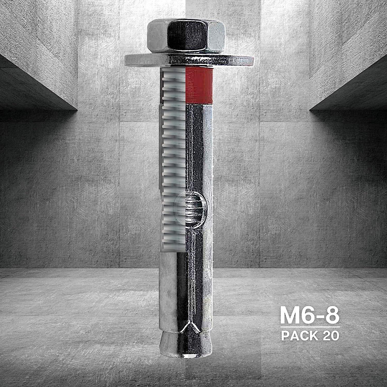 Tacos hormigon pared M10-12 Espiches de pared Espirros anclaje PACK 5 chapas metalicas inviolables DOJA Industrial Tornillo expansivo Tacos Anclaje Metalico de Expansion con Cancamo