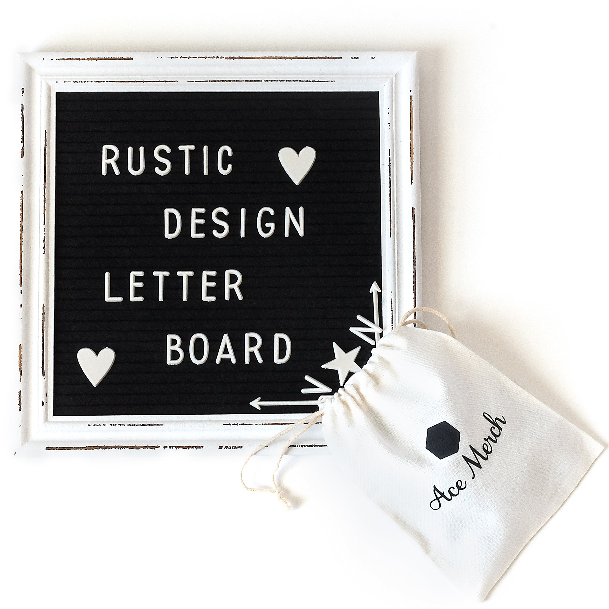 Rustic Black Felt Letter Board with White Wood Vintage Frame – 10x10 Inch Antique Message Board with Wooden Stand, Special Cursive Words and 335 Changeable Letters, Numbers and Emojis by Ace Merch
