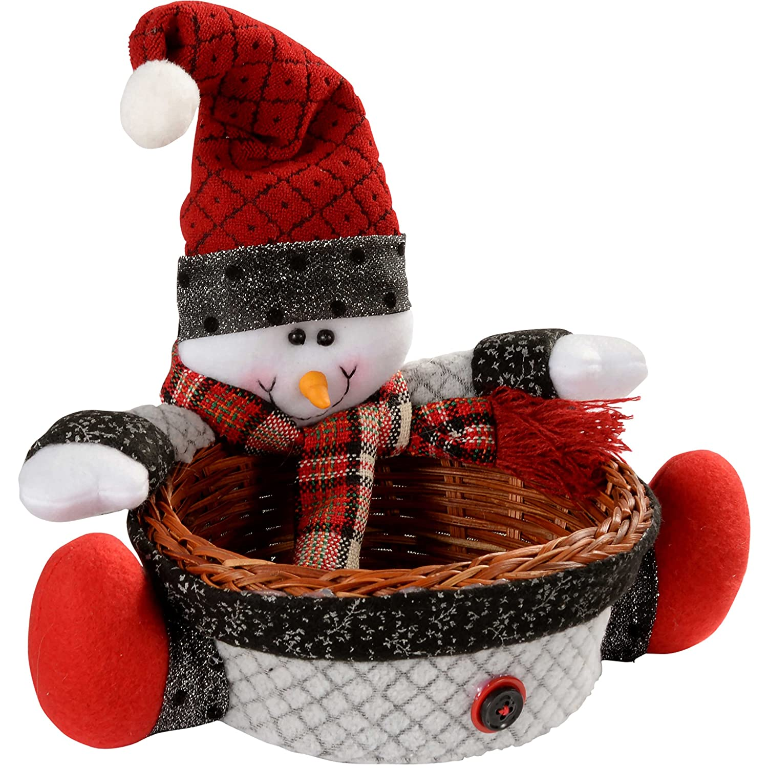 WeRChristmas Snowman Multi-Use Wicker Basket Christmas Decoration Table Decoration, 18 cm - Multi-Colour WRC-3016
