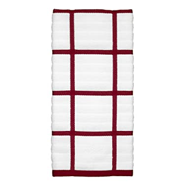 All-Clad Textiles 100-Percent Combed Terry Loop Cotton Kitchen Towel, Oversized, Highly Absorbent and Anti-Microbial, 17-inch by 30-inch, Checked, Chili Red