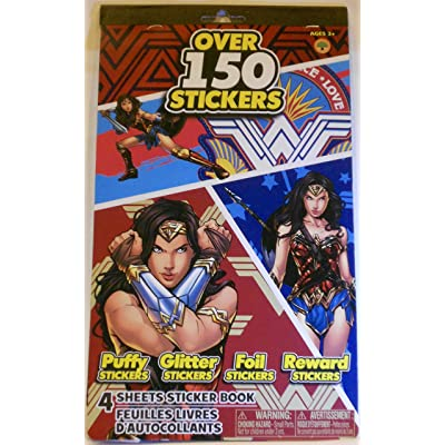 Peachtree Playthings Wonder Woman Stickers- 4 Sheet Pad - 150+ Stickers - Puffy - Glitter - Foil - Reward: Toys & Games