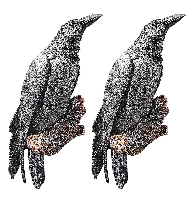 Design NG934872 Toscano the Ravens Perch Wall Sculpture Black Set of 2