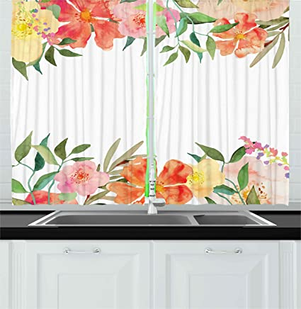 Ambesonne Floral Kitchen Curtains, Flower Petals With Soft Pastel Tones  Bouquet Blooms Shabby Colors Feminine