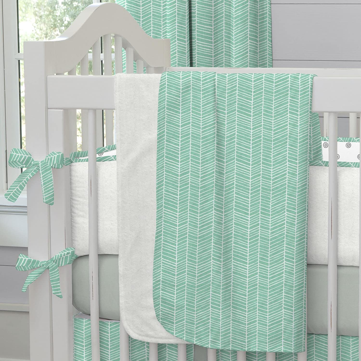 Carousel Designs Mint Herringbone Crib Blanket by Carousel Designs   B00P8DV5BW
