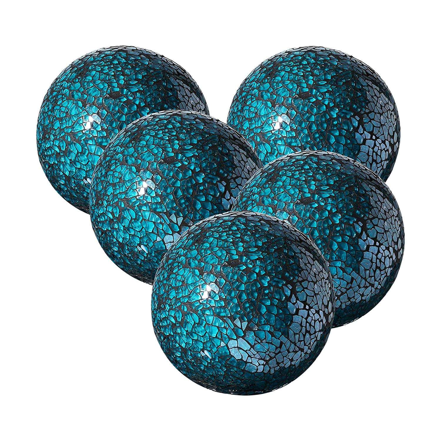 "Whole Housewares Decorative Balls Set of 5 Glass Mosaic Sphere Dia 3"" (Turquoise)"