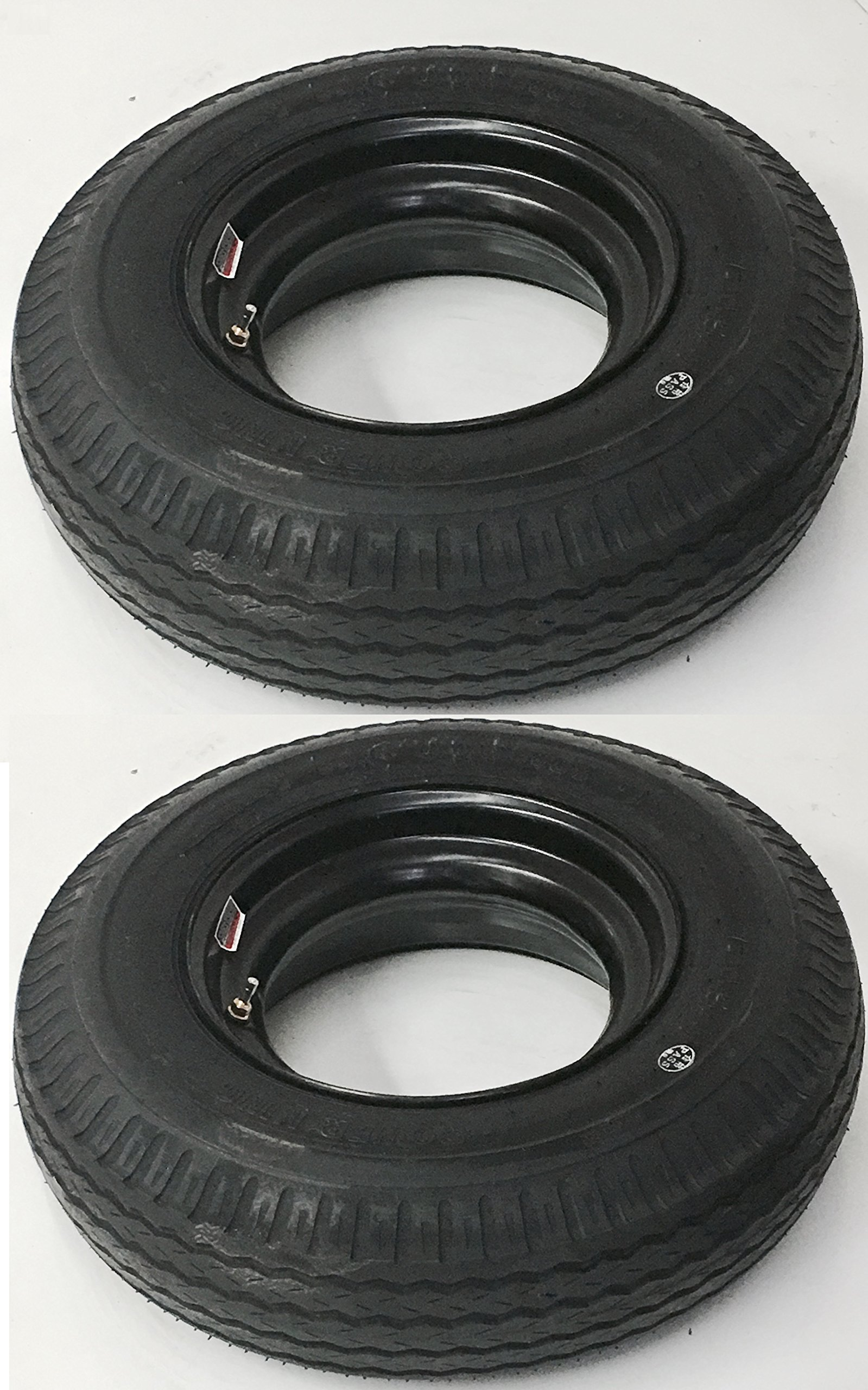 Two Open Center Mobile Home Trailer Tires & Rims 7X14.5 7-14.5 14.5 Load F 12Ply