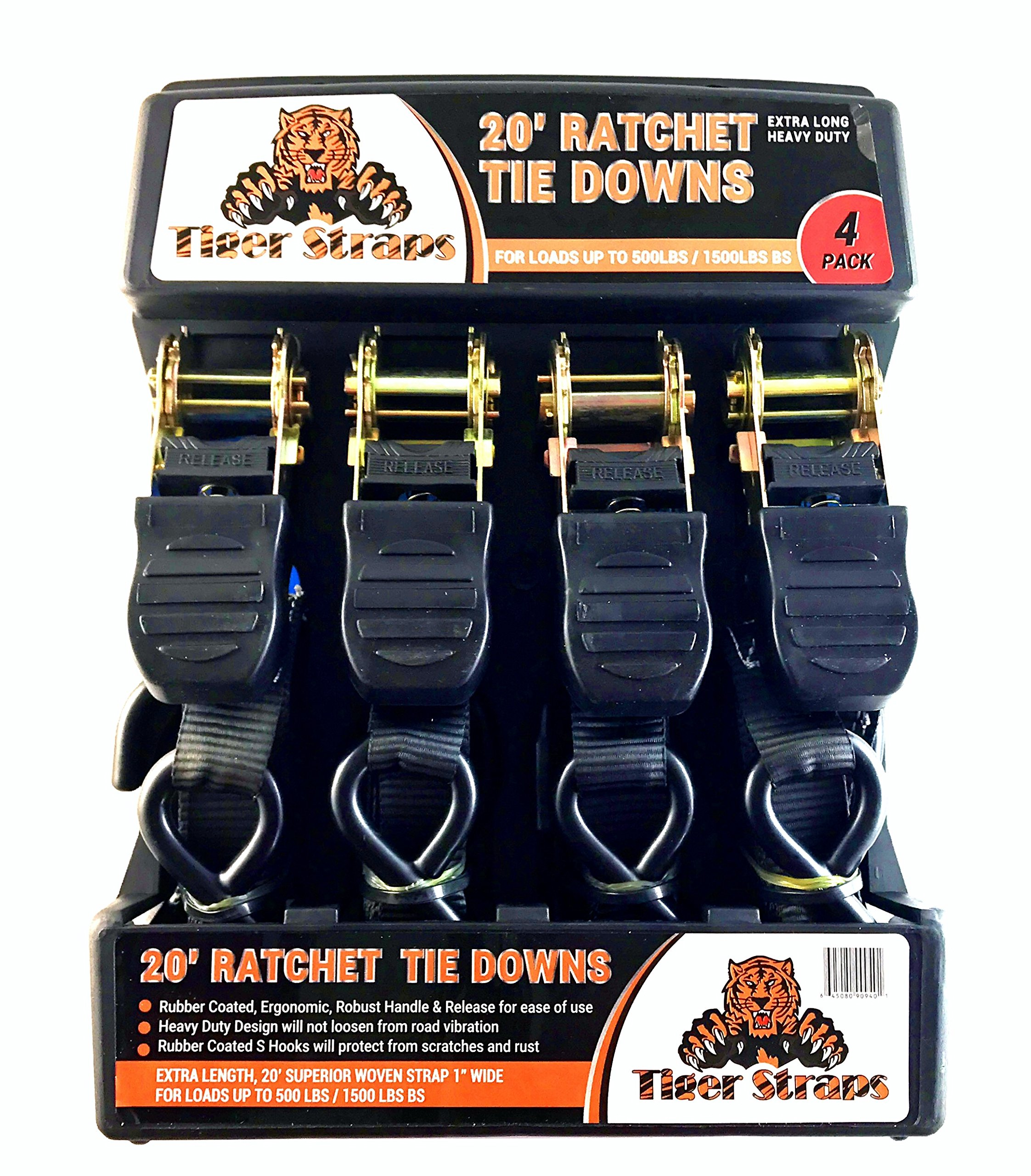 Tiger Tie Down Straps-4PK-Extra Long 20ft -500lb Load Cap, The Ultimate Ratchet Tiedowns, These Tie Down Straps Have A 1500lb Break Strength. Premium Heavy Duty Locking Straps Tiedowns