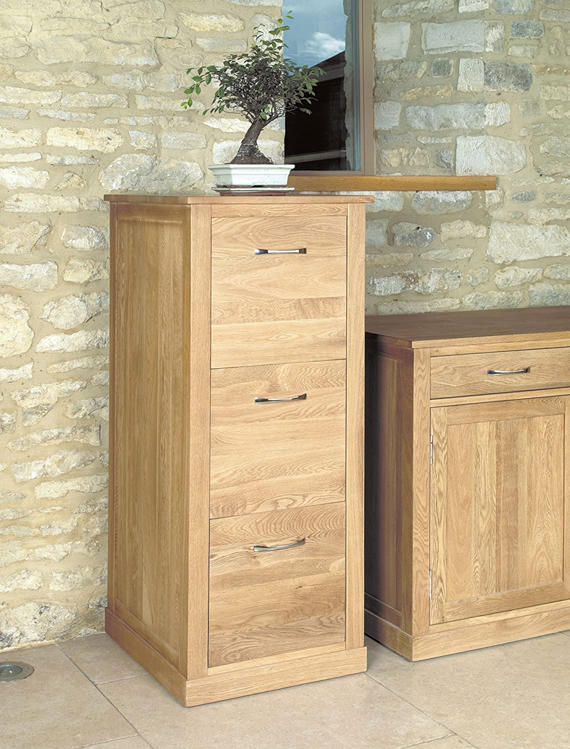 Baumhaus Mobel Oak 3 Drawer Filing Cabinet Amazoncouk Office Products