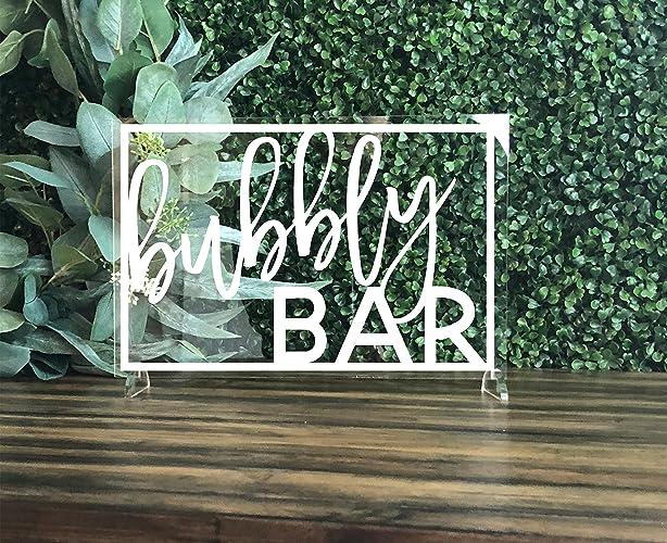 bubbly bar wedding sign acrylic bubby bar champagne bar bridal shower bar sign