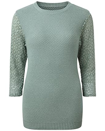 924c1fee126 Cotton Traders Womens Ladies Lace Sleeve Jumper Sweater Knitwear ...