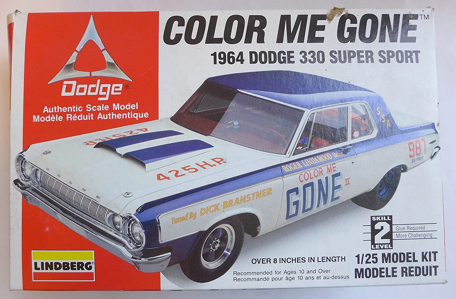 Lindberg Color Me Gone 1964 Dodge 330 Stock Car Toys Max Wedge Games