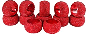 Handmade Multi Beaded Napkin Rings Set, Set of 12, Multi Beaded Napkin Holders, 2 Inch, Hand Made by Skilled artisans - A Beautiful complement to Your Dinner Table décor - Red Multi