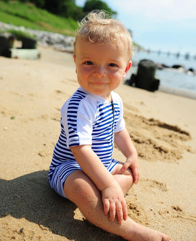 Snapper Rock Baby Boy /& Girl UPF 50 UV Protective Warm Short Sleeve Swimsuit For Kids